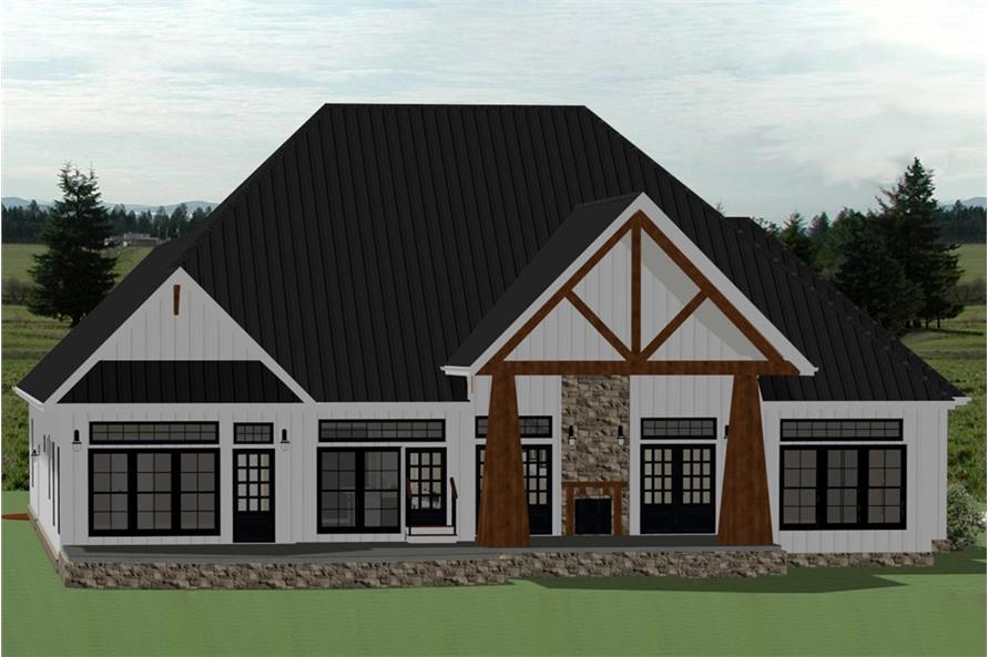 Home Plan Rear Elevation of this 4-Bedroom,3390 Sq Ft Plan -189-1104