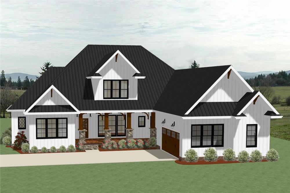 Farmhouse home (ThePlanCollection: Plan #189-1104)