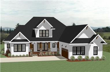 Front elevation of Farmhouse home (ThePlanCollection: House Plan #189-1104)