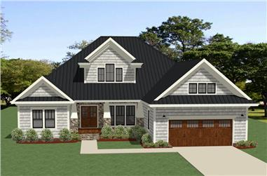 Front elevation of Craftsman home (ThePlanCollection: House Plan #189-1105)