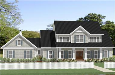 Front elevation of Farmhouse home (ThePlanCollection: House Plan #189-1106)