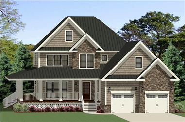 Front elevation of Farmhouse home (ThePlanCollection: House Plan #189-1107)