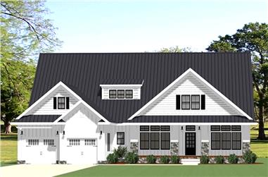 Front elevation of Craftsman home (ThePlanCollection: House Plan #189-1108)