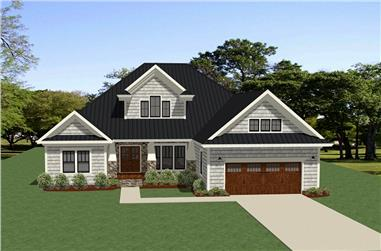 Front elevation of Craftsman home (ThePlanCollection: House Plan #189-1110)