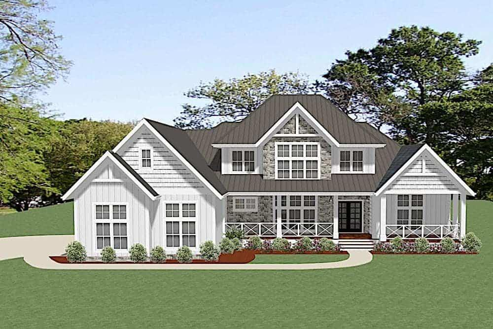 Front elevation of Farmhouse home (ThePlanCollection: House Plan #189-1114)