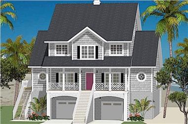 Front elevation of Vacation Homes home (ThePlanCollection: House Plan #189-1121)