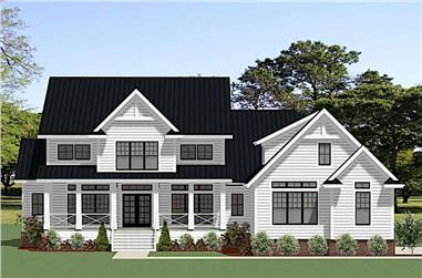 4-Bedroom, 3830 Sq Ft Farmhouse Home Plan - 189-1126 - Main Exterior