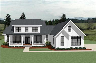 4-Bedroom, 3353 Sq Ft Farmhouse Home - Plan #189-1127 - Front Exterior