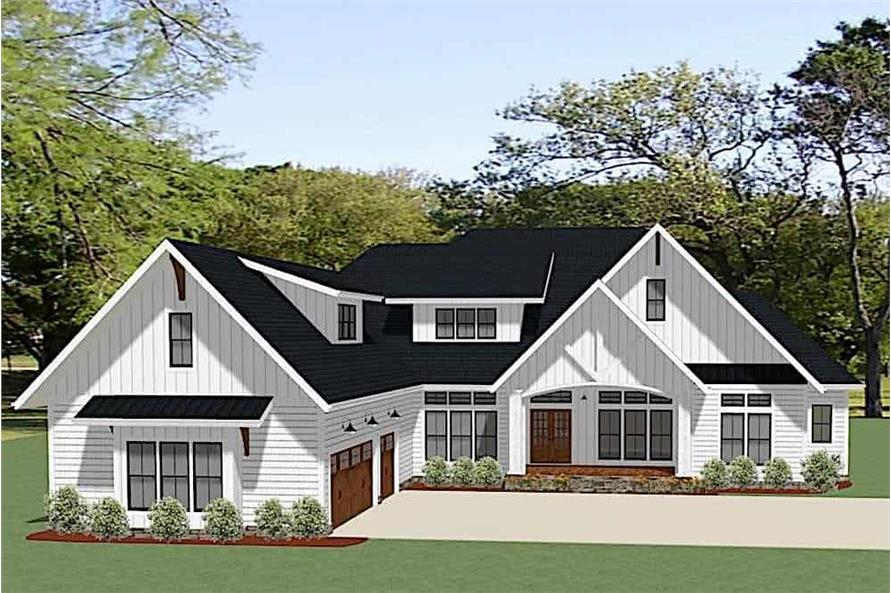 4-Bedroom, 2847 Sq Ft Farmhouse House Plan - 189-1129 - Front Exterior