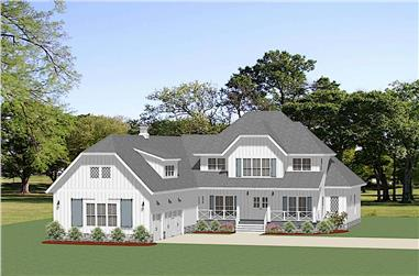 4-Bedroom, 3239 Sq Ft Farmhouse Home - Plan #189-1136 - Front Exterior