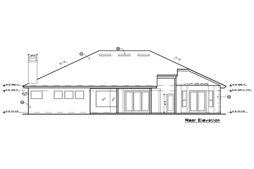 190-1000: Home Plan Rear Elevation