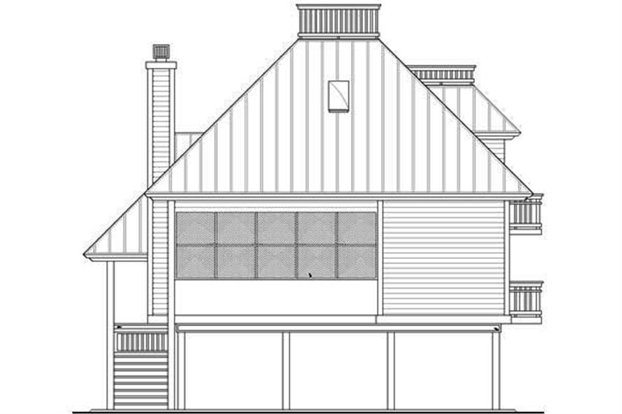 Home Plan Rear Elevation of this 3-Bedroom,1679 Sq Ft Plan -190-1001