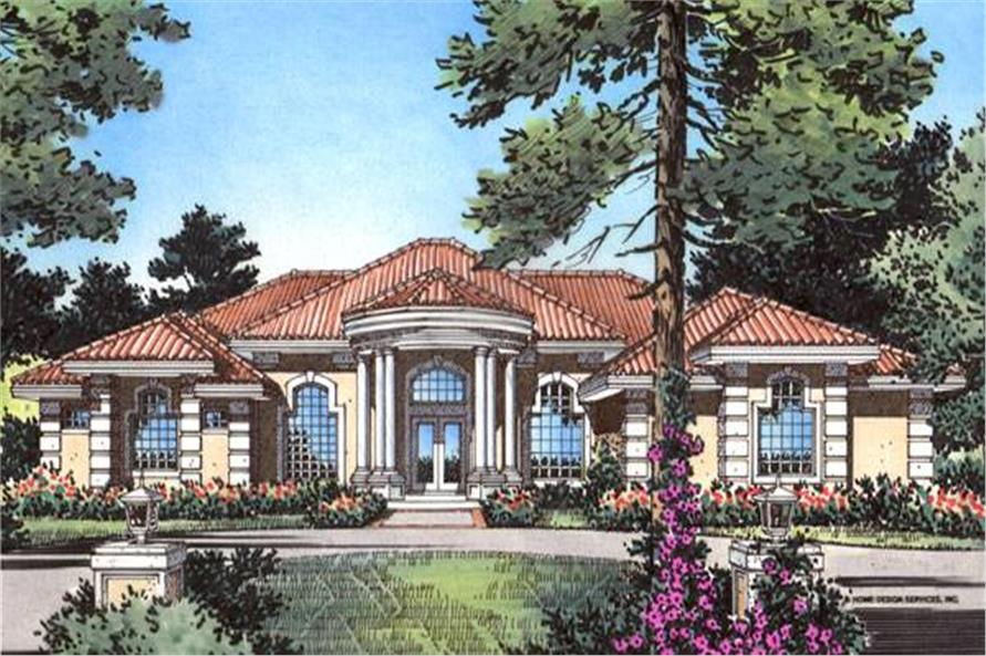 Home Plan Front Elevation of this 4-Bedroom,3556 Sq Ft Plan -190-1003