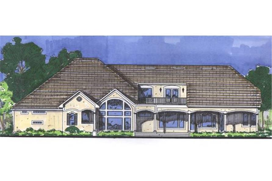 Home Plan Rear Elevation of this 4-Bedroom,3436 Sq Ft Plan -190-1004