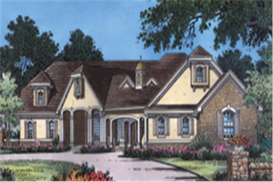 Home Plan Front Elevation of this 4-Bedroom,3436 Sq Ft Plan -190-1004
