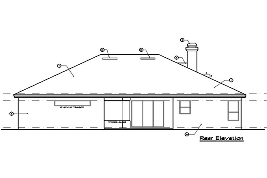 190-1005: Home Plan Rear Elevation