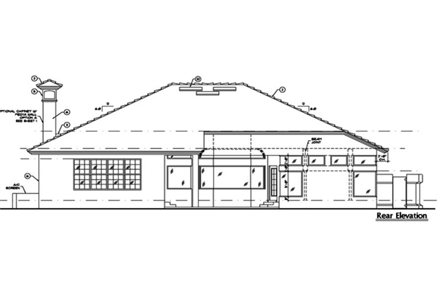 190-1007: Home Plan Rear Elevation