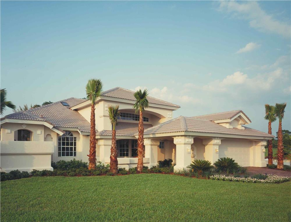 Front elevation photo of this Mediterranean style home (ThePlanCollection: House Plan #190-1007)