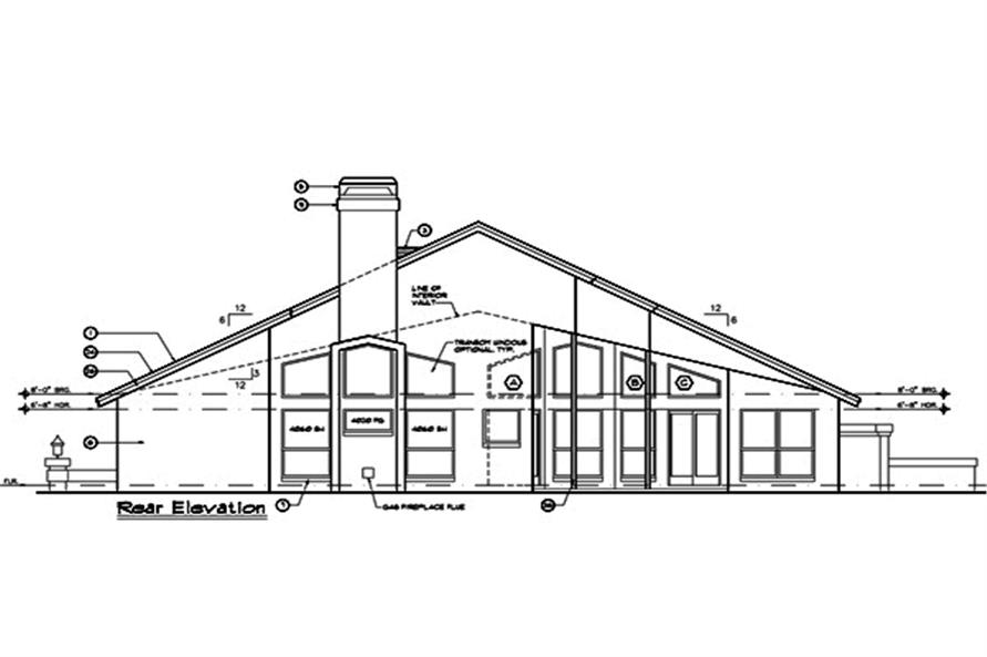 190-1008: Home Plan Rear Elevation