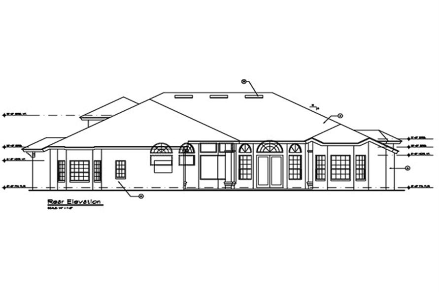 190-1009: Home Plan Rear Elevation