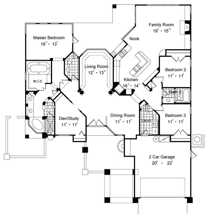 Floor plan first story of spanish plan 190 1009