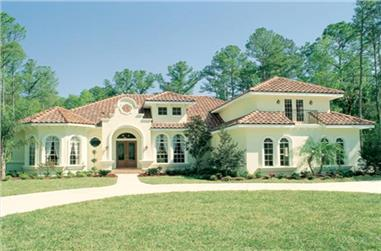 Front elevation photo of Spanish style home (ThePlanCollection: House Plan #190-1009)