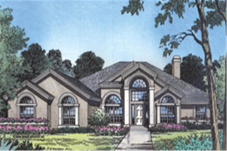 Front elevation of Contemporary home (ThePlanCollection: House Plan #190-1010)