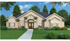 Front elevation of Contemporary home (ThePlanCollection: House Plan #190-1011)