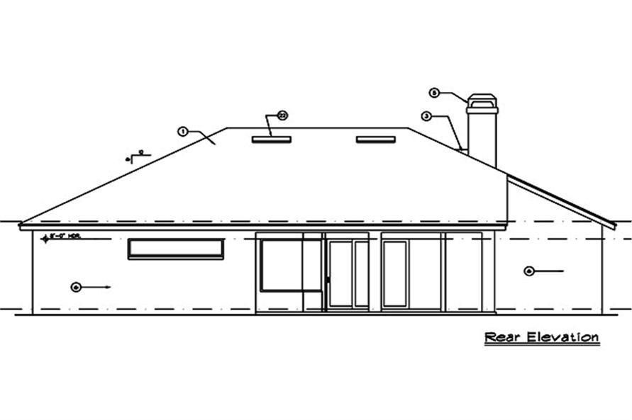 190-1013: Home Plan Rear Elevation