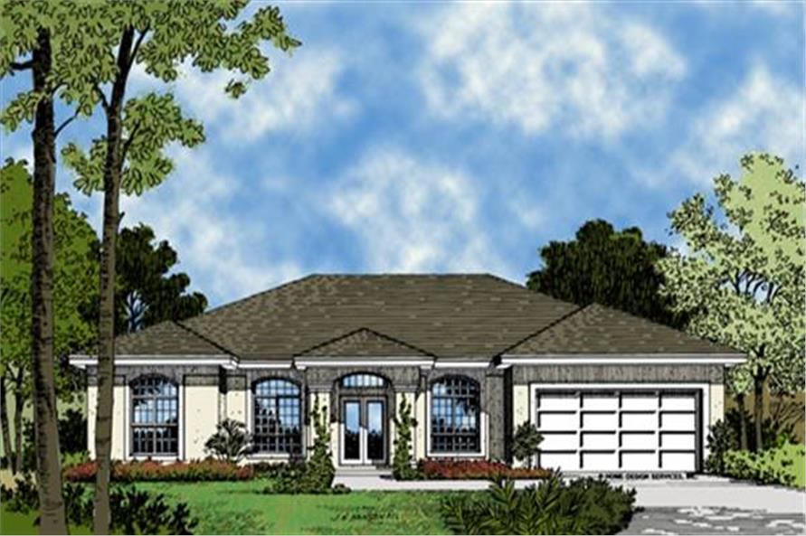 190-1013: Home Plan Front Elevation