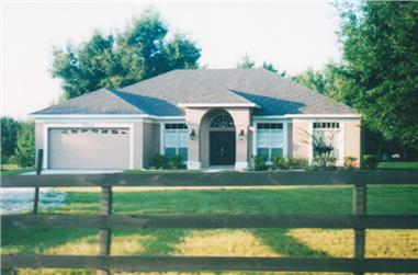 Front elevation of this ranch home (ThePlanCollection: House Plan #190-1013)