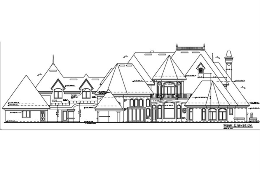 Home Plan Rear Elevation of this 5-Bedroom,6462 Sq Ft Plan -190-1014