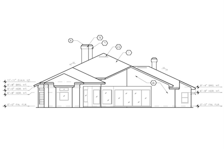 190-1015: Home Plan Rear Elevation