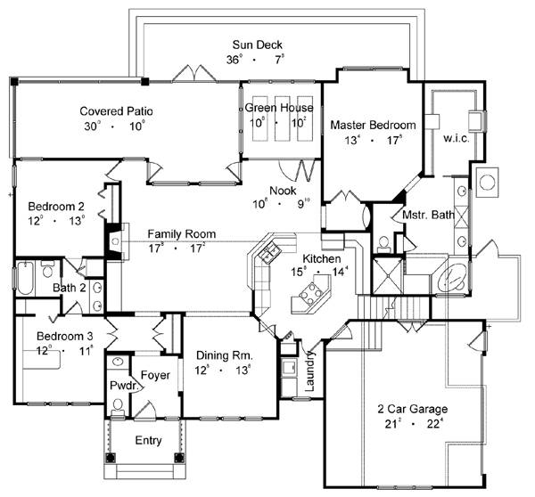 Country Home Plan 3 Bedrms 2 5 Baths 1997 Sq Ft