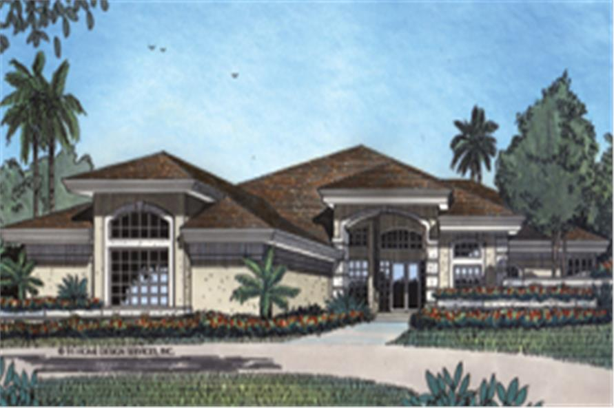 Front elevation of this Florida style home (ThePlanCollection: House Plan #190-1017)
