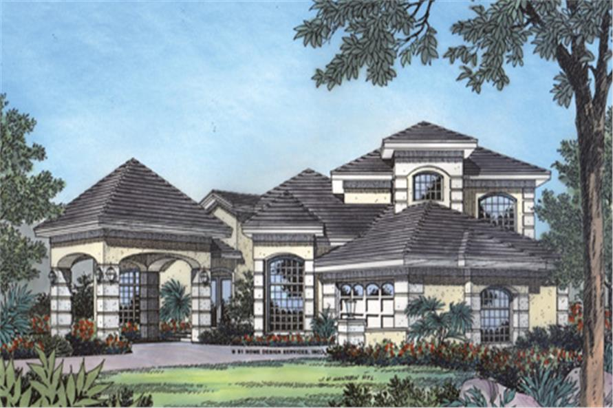 Home Plan Front Elevation of this 4-Bedroom,2887 Sq Ft Plan -190-1018