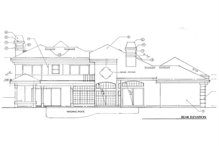 Home Plan Rear Elevation of this 4-Bedroom,3290 Sq Ft Plan -190-1019