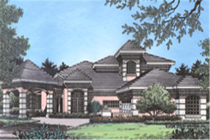 Home Plan Front Elevation of this 4-Bedroom,3290 Sq Ft Plan -190-1019