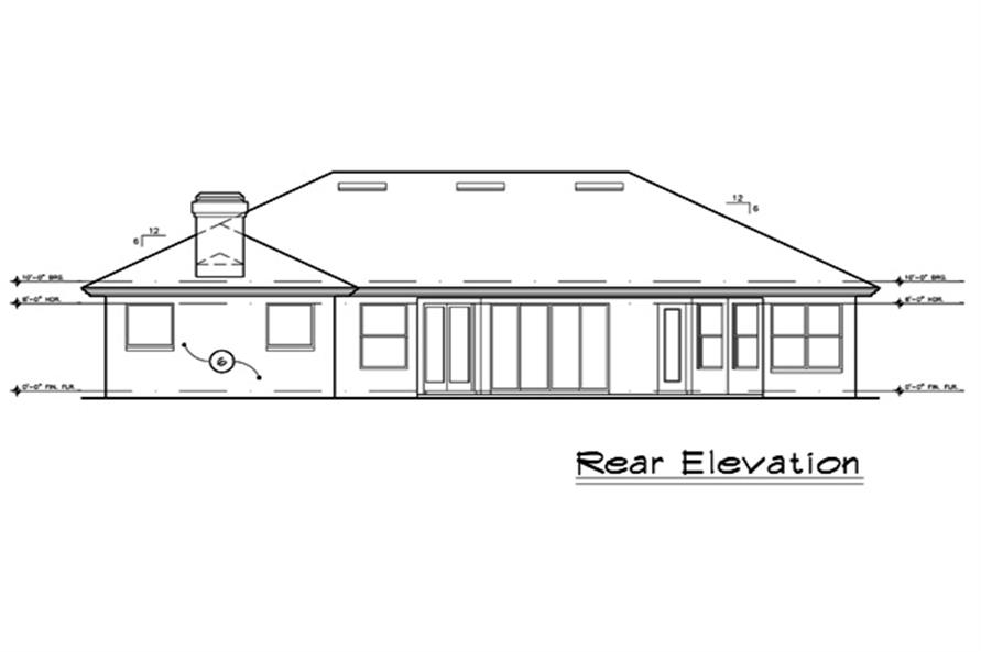 Home Plan Rear Elevation of this 4-Bedroom,2409 Sq Ft Plan -190-1020
