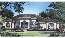 Front elevation of Contemporary home (ThePlanCollection: House Plan #190-1020)