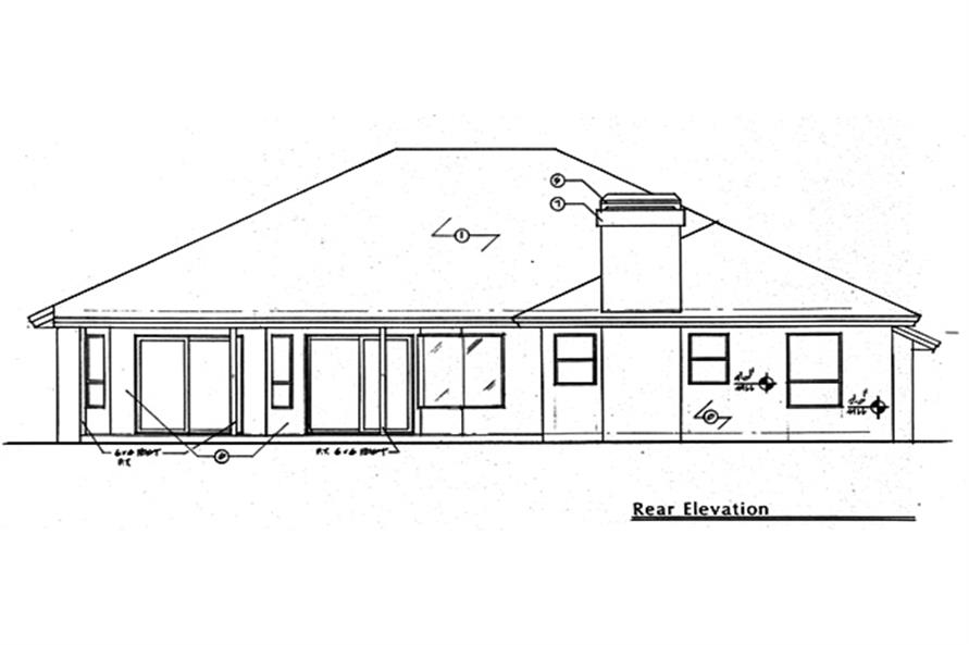 Home Plan Rear Elevation of this 4-Bedroom,2287 Sq Ft Plan -190-1021