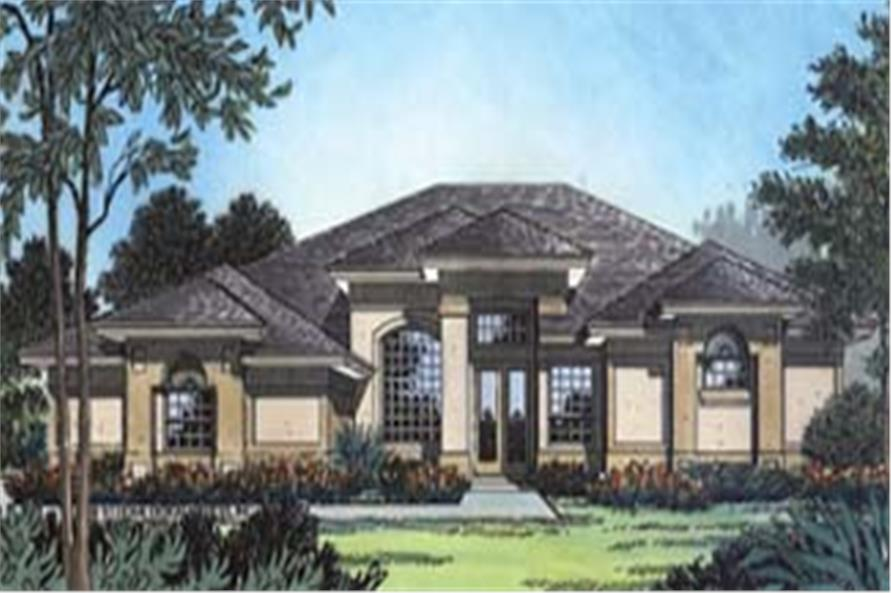 Front elevation of Contemporary home (ThePlanCollection: House Plan #190-1021)