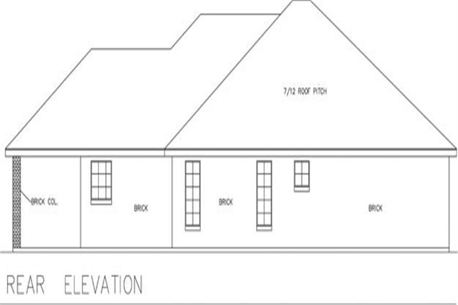 191-1000: Home Plan Rear Elevation