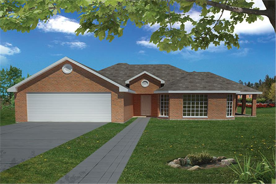 Front elevation of Southwest home (ThePlanCollection: House Plan #191-1000)