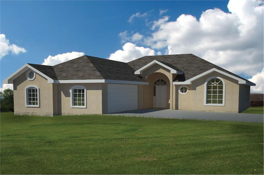 Front elevation of Ranch home (ThePlanCollection: House Plan #191-1010)