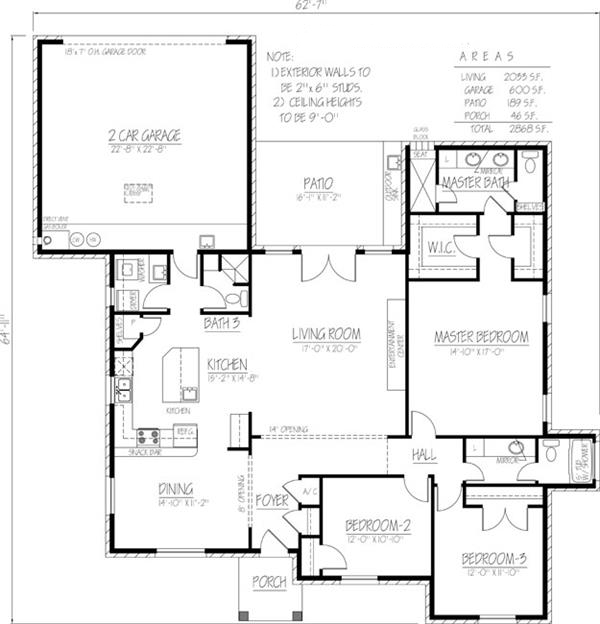 Southwest House Plan 191 1011 3 Bedrm 2033 Sq Ft Home