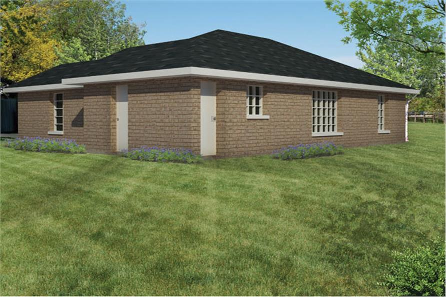 191-1012: Home Plan Rear Elevation