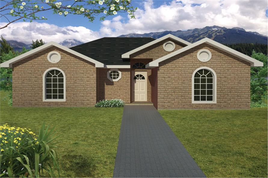 Front elevation of Ranch home (ThePlanCollection: House Plan #191-1012)