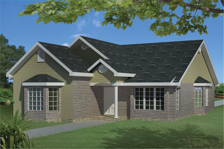 Front elevation of Traditional home (ThePlanCollection: House Plan #191-1013)