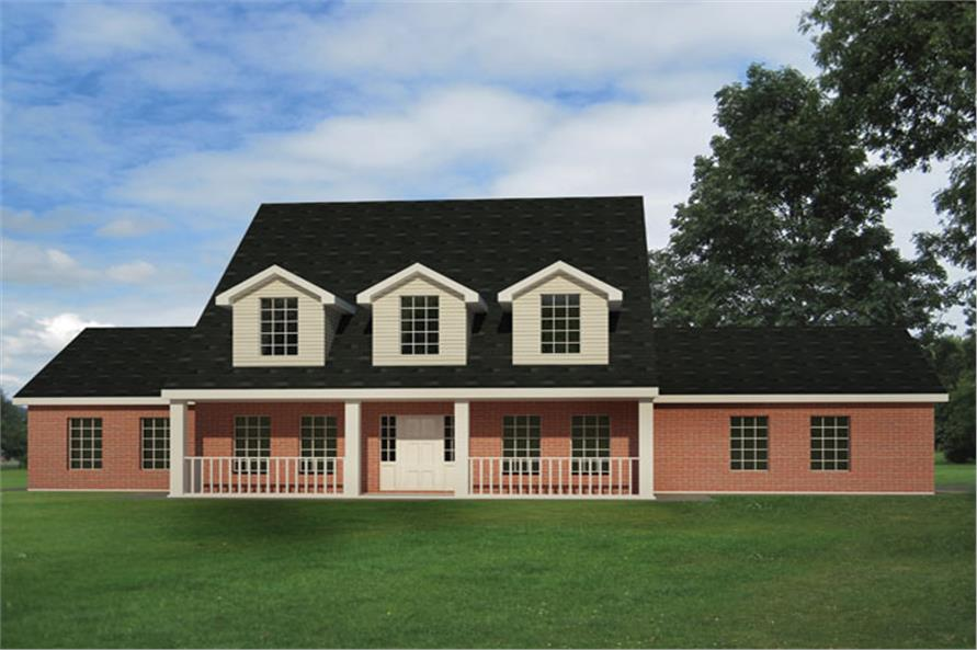 Front elevation of Cape Cod home (ThePlanCollection: House Plan #191-1016)